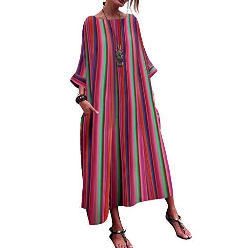 (Willow S Fashion Women Dresses Half Sleeve Striped Multicolor Print Loose Bohe Beach Long Robe Dress)