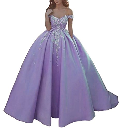 Floral Satin DMDRS Lavender Prom Long Women's Party Dress Ball Shoulder Off CwwgqR