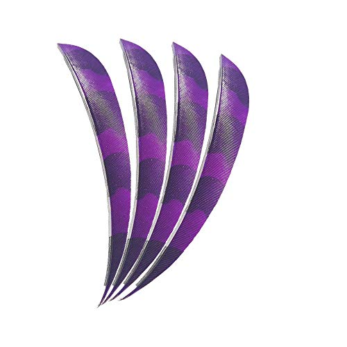 MILAEM 50pcs Archery Arrow Feathers 5'' Parablic Turkey Feather Fletching Right Wing Feathers(Purple) ()