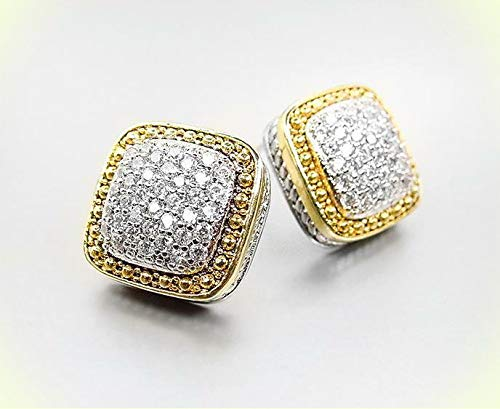 EXQUISITE Square Gold Dots Texture Silver Pave CZ Crystals Cable Earrings For Women Set 508E