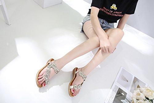 Chaussures Rhinestone D'été de Fleurs Plates de Dames de des Ruiren pour des Femmes Or avec Plage Sandales 7IxzwnAq8t