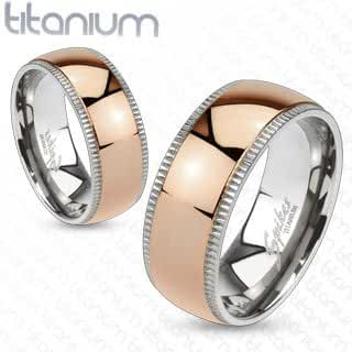 TIR-0006 Grooved Solid Titanium Edges with Rose Gold IP Dome Center Band Ring; Comes With Free Gift Box