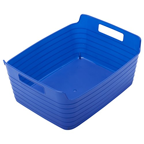 ECR4Kids Large Bendi-Bins with Handles, Stackable Plastic Storage Bins for Toys and More, Blue