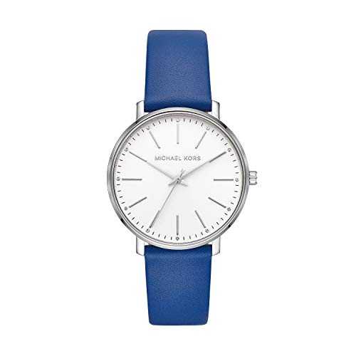 Michael Kors Women's Pyper Stainless Steel Quartz Watch with Leather Strap, Blue, 18 (Model: MK2845)