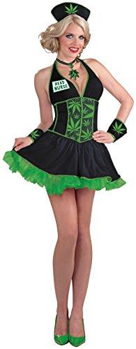 Forum Novelties Women's Head Nurse Cannabis Costume, Black/Green, X-Small/Small
