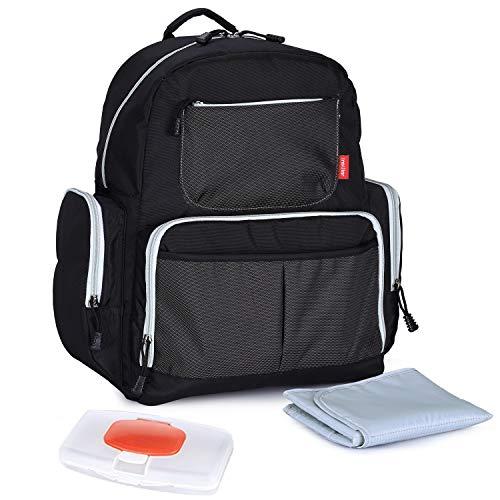 (Stylish Fashionable Diaper Nappy Bag Maternity Bag Mens Womens Baby Girl Boy Toddler Twins Diaper Bag Organizer Diaper Bag Purse Totes Black)