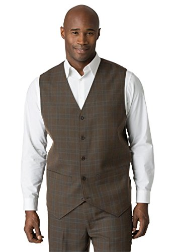 Kings' Court Men's Big & Tall Suit Vest, Brown Plaid Tall-56