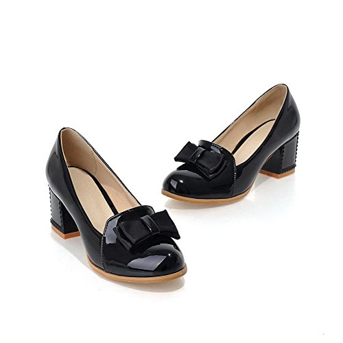 Kitten Black on Pumps Toe Material Closed Shoes WeiPoot Soft Solid Women's Round Pull Heels 4nOwC8Rxq