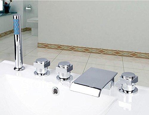 GOWE Waterfall Bathroom Bathtub Basin Brass Ceramic Chrome Sink Mixer Double Handles Deck Mounted Tap Faucet 0