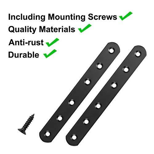 Soporte recto de acero inoxidable de 158 x 20 mm /ángulo de brazo y soporte protector negro de color 4 unidades fijaci/ón de esquina plana con tornillos para plano recto