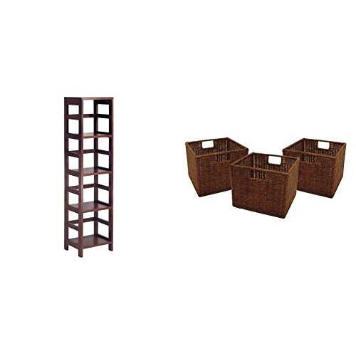 Winsome Wood 4-Shelf Narrow Shelving Unit, Espresso + Winsome Wood Small Wired Rattan Baskets, Set of 3_Bundle (Bookcase Rattan Wide)