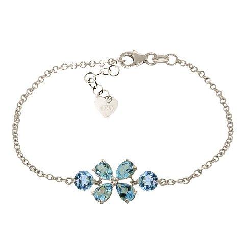 QP bijoutier topazes bleues Bracelet en or blanc 9 carats - 5061W 3.15ct coupe poire