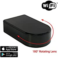 SpygearGadgets 1080P HD WiFi Streaming Black Box Hidden Nanny Camera with Rotating Lens - Stream Live HD Video to iPhone or Android