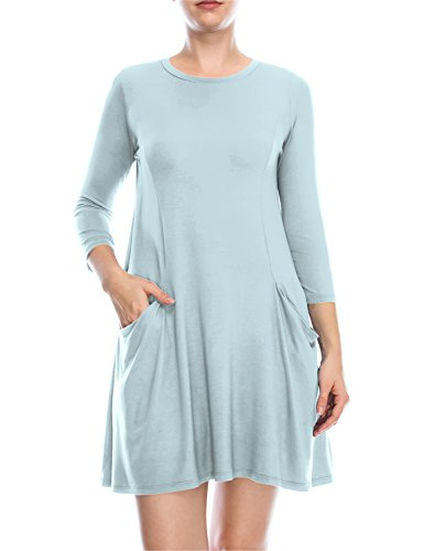 ALL FOR YOU Women's 3/4 Sleeve Front Pockets Round Neck Casual Flowy Tunic Dress Ice Blue Medium