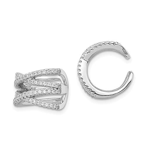 (925 Sterling Silver Cubic Zirconia Cz Double X Ear Cuff Non Pierced Fine Jewelry Gifts For Women For Her )