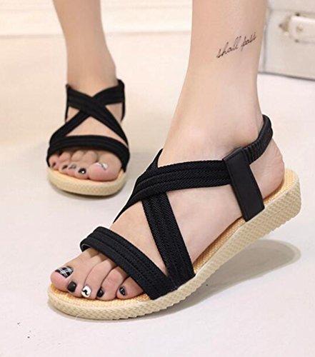 Bohême Plage Femmes des Basses Ouvert Chaussures de Noir Sandales Bout YOUJIA Sandale qYtax