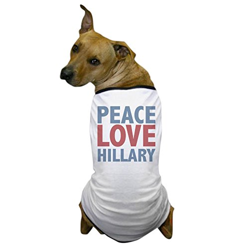 (CafePress - Peace Love Hillary Clinton - Dog T-Shirt, Pet Clothing, Funny Dog Costume)