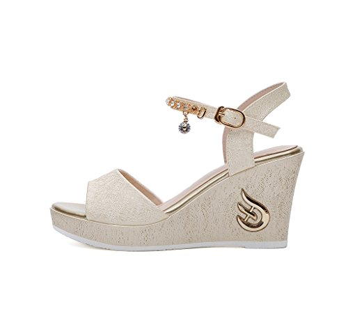 36 Elegant Dream Sandals Spring Fashion Gold Summer High Heeled and Size Waterproof Shoes Wedge Shoes Color ZqRZrFTnw