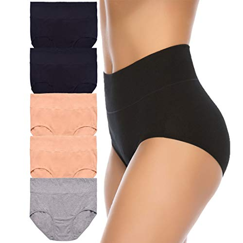 Women's High Waist Cotton Underwear Soft Brief Panties Regular and Plus Size (X-Large, Assorted1, 5-Pack)