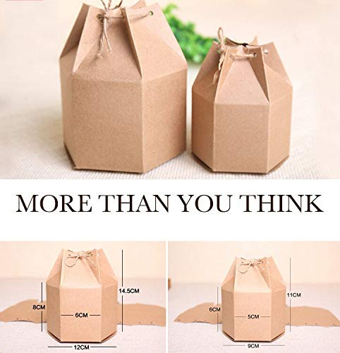 Xiaogongju 20Pcs/Lot 2 Sizes Small Kraft Gift Cardboard Boxes,Kraft Paper Boxes for Gift,Hexagonal Carton Paper Packaging Brown Candy Boxes Kraft 12x14cm -