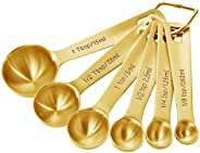 Homestia Stainless Steel Gold Measuring Spoons Set of 6 Pcs: 1/8 tsp, 1/4 tsp, 1 tsp, 1/2 tbsp, 1 tbsp Heavy D