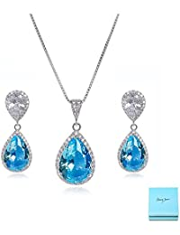 Elegant Jewelry Set for Women - Silver Teardrop Clear...