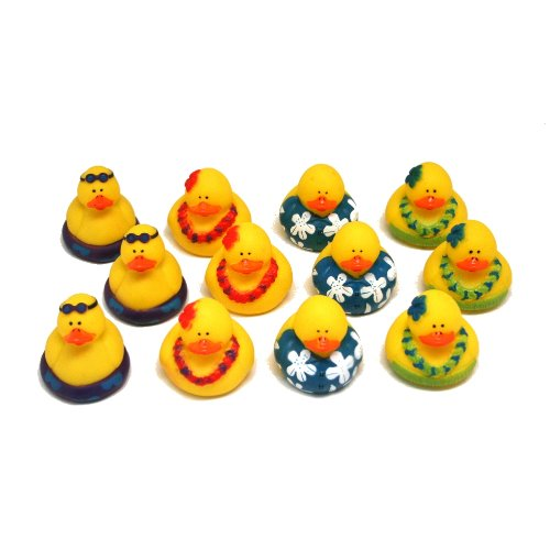 Fun Express Rubber Luau Duckies Hawaiian Hula Toy (12 Piece) (Luau Rubber)