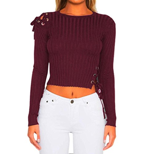 Clearance Women Tops COPPEN Women Bandage Long Sleeve Fashion Knitting T-Shirt Blouse Tops
