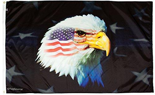 FlagSource - Patriotic Eagle 3x5' Nylon Decorative Flag - Proudly Made in (Nylon Decorative Flags)