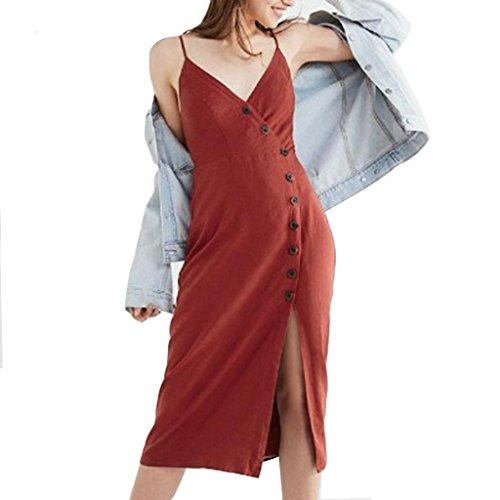 91671179b1 Jupe Sling Robe D'été De Grande Couleur Sans Taille Unie Adeshop Élégant  Bouton Fendue Mode Soirée Rouge Col V Chic Manches Plage Femmes ...