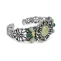 Relios Mixed Metal Green Multi-Gemstone Cuff Bracelet by Relios
