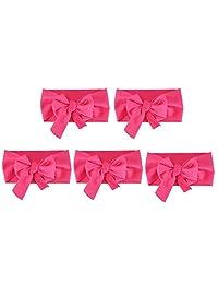 5pcs DIY Kids Cloth Headwear Bowknot Headband Gift Head Wrap Polyester Spandex Hair Accessory(B)