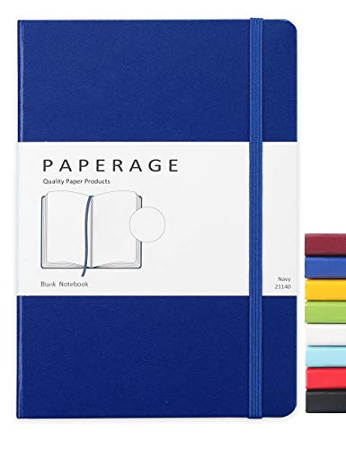 Paperage Journal Blank Page Notebook, Hard Cover, Medium 5.7 x 8 inches, 100 gsm Thick Paper (Navy, Plain)