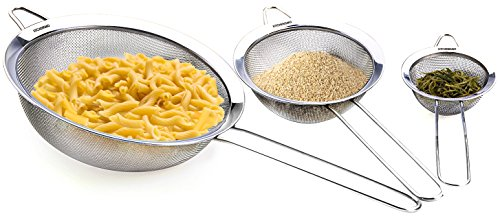 Fine Mesh Stainless Steel Strainer – Set of 3 – Professional Sieve – Best for Home Cooking Use – 5 Free Recipes eBooks – 100% Life Time Guarantee by Kitchenismo (Image #1)