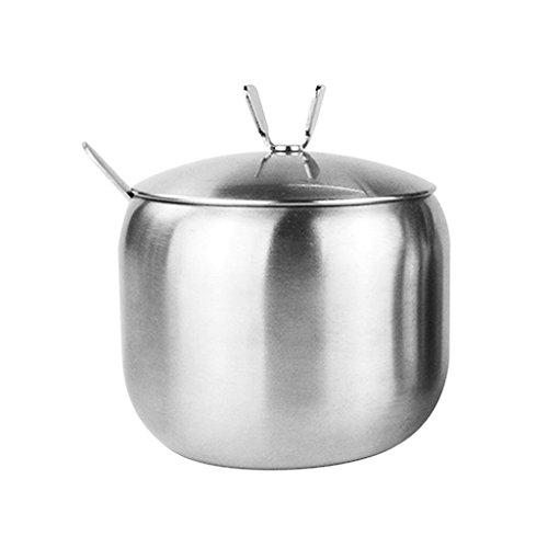 - Fityle Metal Condiment Pots Lids and Spoons, Spice Jars Jam Mustard Pots Seasoning Container Salt Sugar Bowl - 1pc