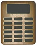18 Plate Perpetual Plaque 10 1/2''x13'' FREE CUSTOM ENGRAVING Elliptical Walnut with Black Plates