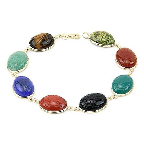 14k Yellow Gold Handmade Scarab Bracelet With Large Oval Shape Gemstones