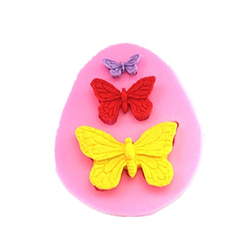 Allforhome(TM) 3 Cavity small Butterfly Sugarcraft Silicone Sugar Resin Craft DIY Moulds DIY gum paste flowers Cake Decorating Fondant Mold