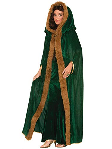 (Forum Novelties Women's Medieval Fantasy Faux Fur Trimmed Cape, Green, One Size)