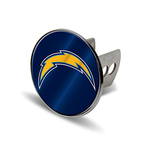 Rico NFL San Diego Chargers Laser Cut Metal Hitch Cover, Large, Silver ()
