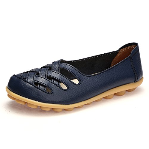 Blue Leather Boat (BTDREAM Women's Leather Slip-On Loafers Moccasins Casual Flat Driving Boat Shoes With Memory Foam Insole Navy Size 38)