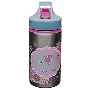 Zak Designs Toddlerific Sports Water Bottle with Elly Graphics, 15.5 oz, Stainless Steel