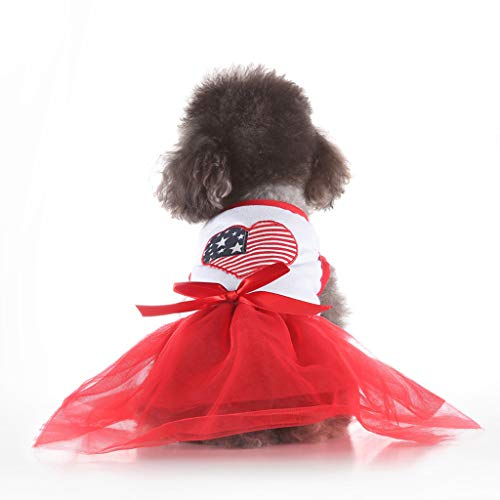 (khdug Pet Dog & Cat Shirt, Princess Clothes for Small Dog Girl Dress Pet Puppy Cat Vest Lace Tutu Skirt Fashion Pet Spring and Summer Love Heart Skirt Dog Costumes)