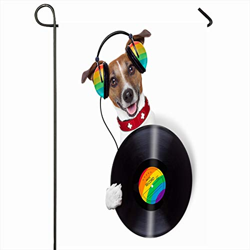 - Ahawoso Seasonal Garden Flag 12x18 Inches Headset Jack Dj Dog Holding Vinyl Beside Blank Album Sports Recreation Jukebox Russell Acoustic Disco Home Decorative Outdoor Double Sided House Yard Sign