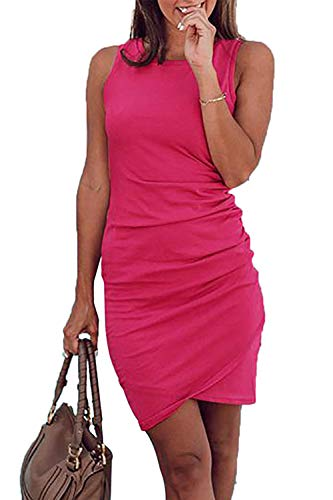 BTFBM Women's 2019 Casual Crew Neck Ruched Stretchy Bodycon T Shirt Short Mini Dress (106Rose Red, Medium)