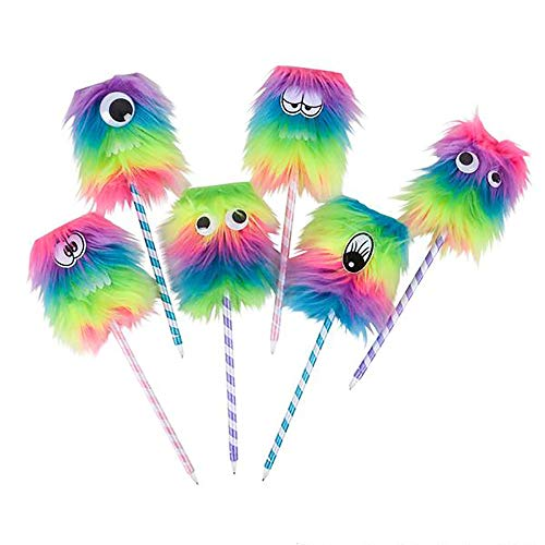 Kicko Rainbow Monster Pen - Pack of 12 Silly-Faced Ballpens - 10-inch Bug Eye Pens Ideas, Party Favors, School, and Office Rewards, Collections, Christmas, Birthdays, and Carnivals -