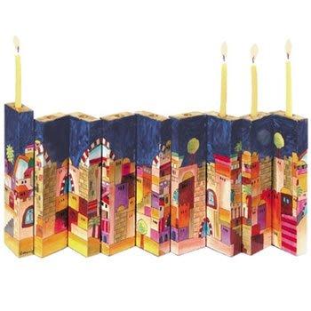 Yair Emanuel Hand painted Jerusalem Wooden Accordion Hanukkah Menorah For Candle Use.