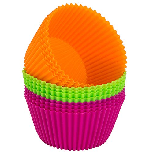 Webake Silicone Baking Cups 4.3 Inch Jumbo Reusable Cupcake Liners Mold, Non-stick Muffin Pans (Pack of 12) ()