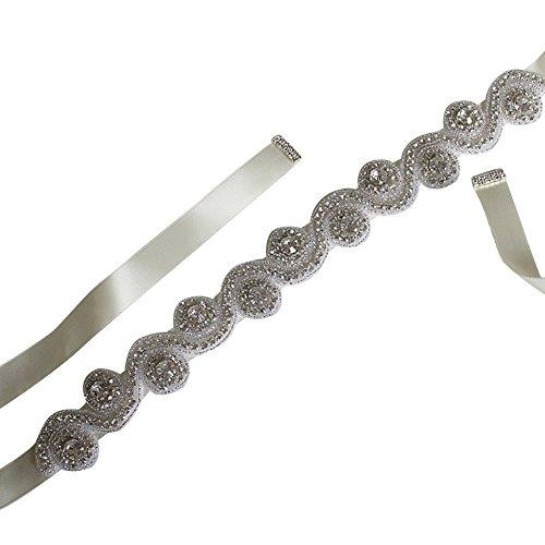Ivory Silk Bow Sash - 4