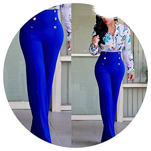 (Women's Pants Loose Trousers High Waist Wide Leg Pants Work Wear Elegant Loose Solid Long Pants,Blue,S)
